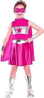 Disfraz de superheroína para niña, color rosa. Talla Grande: 8-10 años (134-146cm)