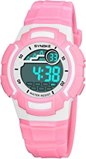 Watch Fashion Children's Watch 9578 Shi Nuo Ke Personality Waterproof Male and Female Students Electric Watch, Fashion Watch (Color : Pink)