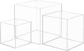 Belle Vous Cube Plexi Transparent (Lot de 3) - Cube Acrylique Anti-Poussière de Tailles Différentes pour Organiser / Proté...