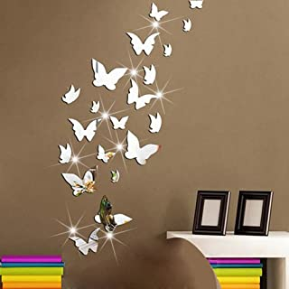 Amaonm 21 PCS Removable Crystal Acrylic Mirror Butterfly Wall Decals Fashion DIY Home Decorations Art Decor Wall Stickers Murals for Kids Nursery Room Bedroom Door Bathroom