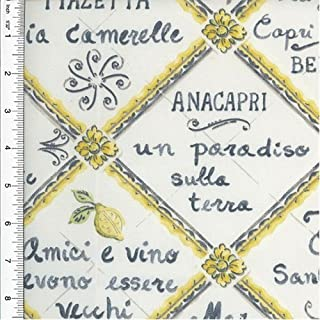 Designer Cotton Gray/Yellow Tile Print Decorating Fabric, Fabric by The Yard
