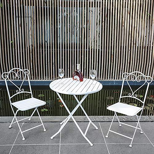 ZWDM - Juego de mesa de comedor plegable de metal de 3 piezas y sillas de jardín para exteriores, diseño decorativo
