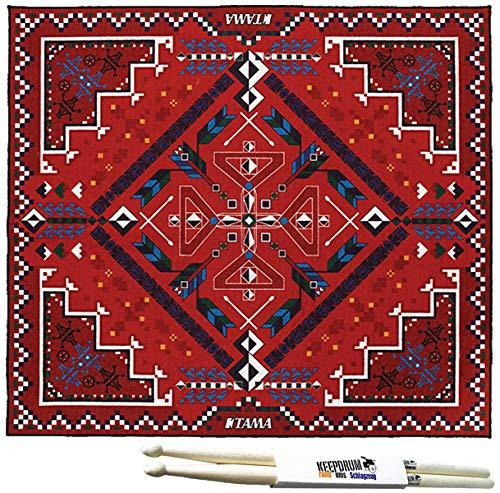 Tama TDR-SW drumstok tapijt Drum Rug Southwest rood 180x200cm + Keepdrum drumsticks 1 paar