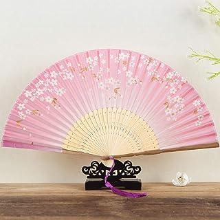 Abanicos Plegables De Mano,Chinease Japonés En Mano De Seda Ventilador Plegable Con Marco De Bambú,Flores De Cerezo Rosa Marco De Bambú Mujer Mano Abanicos Abanicos Regalos Artesanales Ventilador V