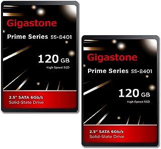 "Gigastone 120GB 内蔵 2.5インチ SSD 2枚セット 3D NAND搭載 SATA III 6Gb/s 2.5 inch 7mm (0.28"") 最大読み込み速度 550MB/s 3年保証"
