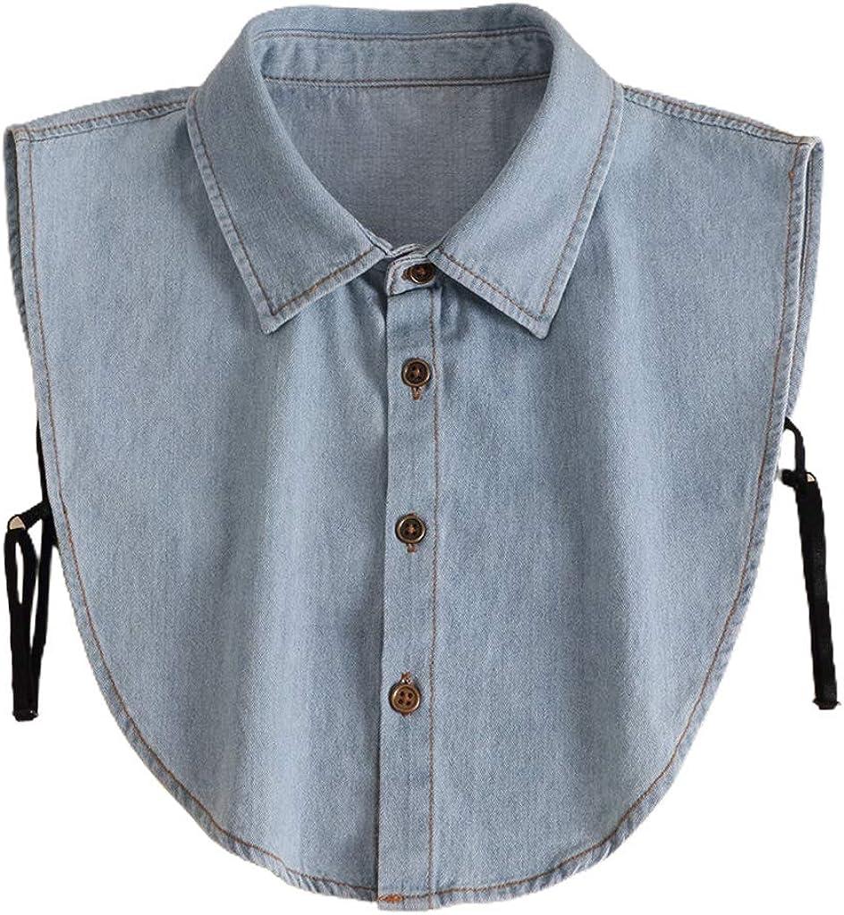 YOUSIKE Detachable Blouse, Women Men Stylish Detachable Half Shirt Blouse Washed Denim Cotton Lapel False Fake Collar Dickey Sweater Decorative Clothing Accessories
