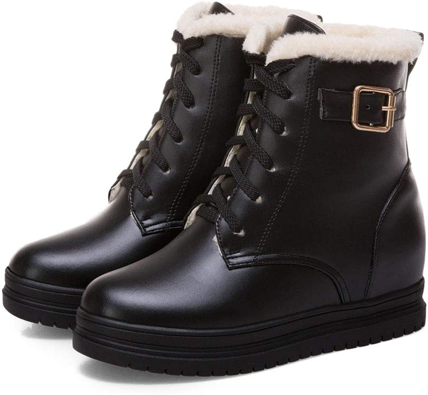 Casual Snow Boots, Plus Velvet Thick Low-Cut Ankle Boots Lacing Round Head Martin Boots Waterproof Platform Flat Short Boots Women's Cotton shoes