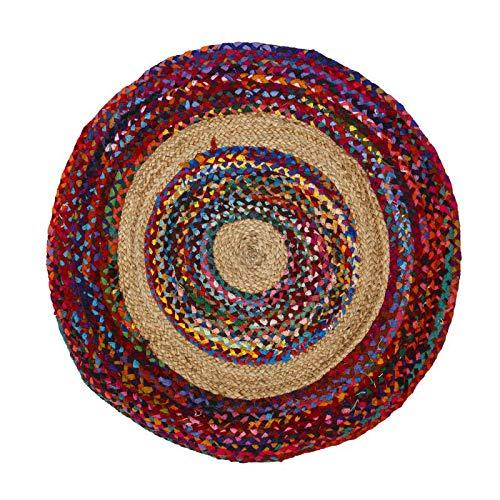 Tapis Multicolore Jute/Coton 90 * 90 - SOTALI - L 90 x l 90 x H 0.5 - Neuf
