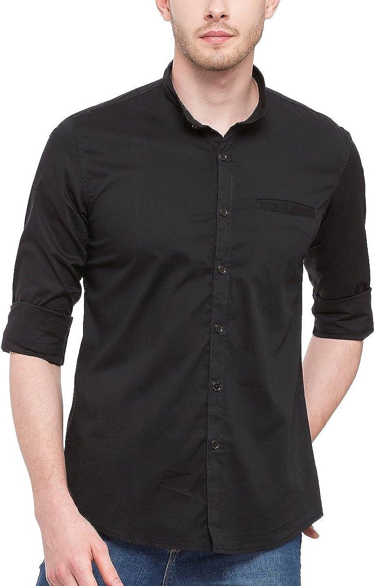 Camisa para hombre con cuello Mao, de algodón y lycra, entallada, negra de Nick&Jess