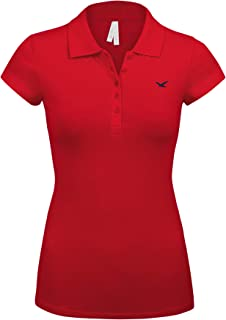 Women's Short Sleeve RED Color 5 Buttons Slim Fit Polo Shirts(3000-RED-1X)