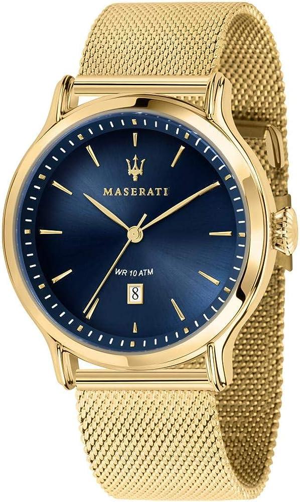 Maserati orologio da uomo, collezione epoca, analogico, in acciaio e pvd oro giallo 8033288861140