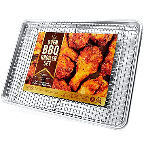 Crown Baking Sheet with Rack, 13x18 inch, Heavy Duty, Rust Free, Pure Aluminum Pan, Stainless Steel Rack