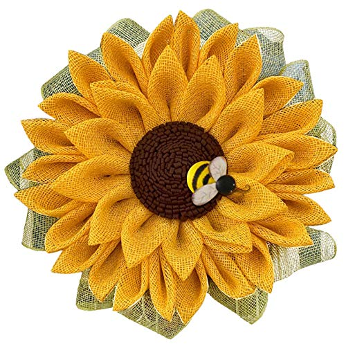 Vobery Simulation Leaf Bee Sunflower Wreath Artificial Garland Hanging Pendant Garden Wreath Easter Wreath Easter Eggs Garland Wall Hanging Easter Decorations Front Door Branch and Easter Tree Vine
