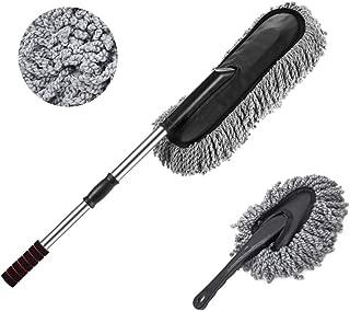 Bargain Crusader Removable Telescopic Car Wax Drag Nano Fiber Car Wash Brush Car Dusting Tool Car Mop Wax Dash Duster Exterior Interior Cleaning Kit (Premium Car Duster & Dash Duster 2 Pcs Set, Gray)