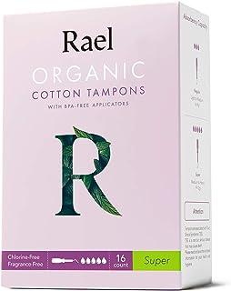 Rael Tampones de algodón orgánico Rael (Super), sin cloro (16 unidades) (4 paquetes, un total de 64 unidades)