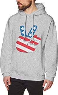 MOREMONI Men's Fashion Jogging Hoody Print Peace for America Long Sleeve