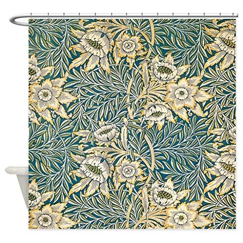 Xxxx Dtjscl Cortina de la Ducha Cortina de Ducha de Tela Decorativa de tulipán y Mimbre, decoración de baño con 12 Ganchos al por Mayor Recta
