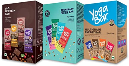 Yogabar Variety Combo Pack - (Protein Bar Variety Box - 6 x 60 g and Snack Bar Variety Pack - 10 x 38 g and Breakfast Variety Pack 6 x 50 g)
