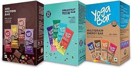 Yogabar Variety Combo Pack - (Protein Bar Variety Box - 6 x 60 g and Snack Bar Variety Pack - 10 x 38 g and Breakfast Variety Pack 6 x 50 g)