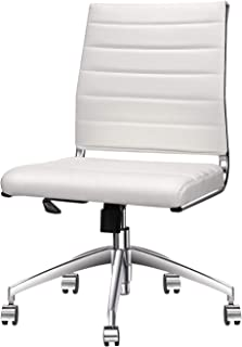 LUXMOD Mid Back Reception Chair, White Adjustable Swivel Chair, Vegan Leather Desk Chair, Ergonomic Computer Chair for Extra Back & Lumbar Support – White