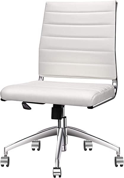 Armless Office Chair With Mid Back White Adjustable Swivel Chair In Durable Vegan Leather Ergonomic Desk Chair For Extra Back Lumbar Support White