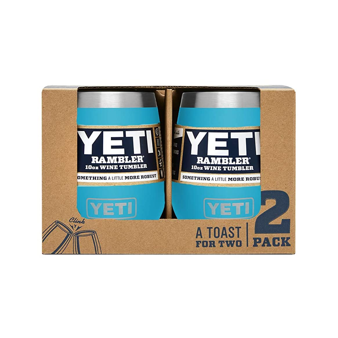 YETI Rambler 10 oz Stainless Steel Vacuum Insulated Wine Tumbler, 2 Pack, Reef Blue