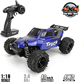FUNTECH RC Car 1/18 Scale Remote Control Car Off Road 4WD Monster RC Truck, Fast 30+ MPH Remote Control Cars RTR 2.4Ghz Ra...