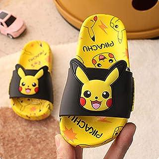 PERRTWDLF Zapatillas de Baño Casa Pikachu Zapatillas para niños niños niñas Verano hogar Pokemon Sandalias baño Antidesliz...