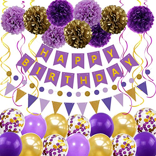 Purple Gold Birthday Decorations Party Supplies Include Happy Birthday Banner 14pcs Balloons 9pcs Pom Poms Flower 6pcs Hanging Swirls 1pcs Circle Dots Banner 1pcs Triangle Pennant Great for Women Girls