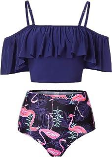 c5e8c6363e Kaei&Shi High Waisted Flounce Bikini Set,Tummy Control Swimsuits for Women,Off  Shoulder