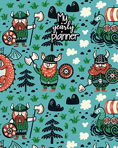 My Yearly Planner: Daily, Weekly, Monthly Undated Planner & Notebook - Appointment Journal Notebook and Action day - viking iceland art design (123 Creative Planners, Band 272)