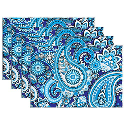 Yilooom Set of 4 Heat Resistant Stain Insulation Place Mats Anti-Skid Washable Canvas Table Placemats 12 X 18 Inch, Navy and Blue Paisley Boho Style