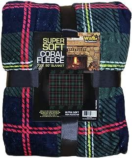 Adirondack Lodge Green Plaid with Bears Soft Coral Fleece Throw Blanket 70 x 90