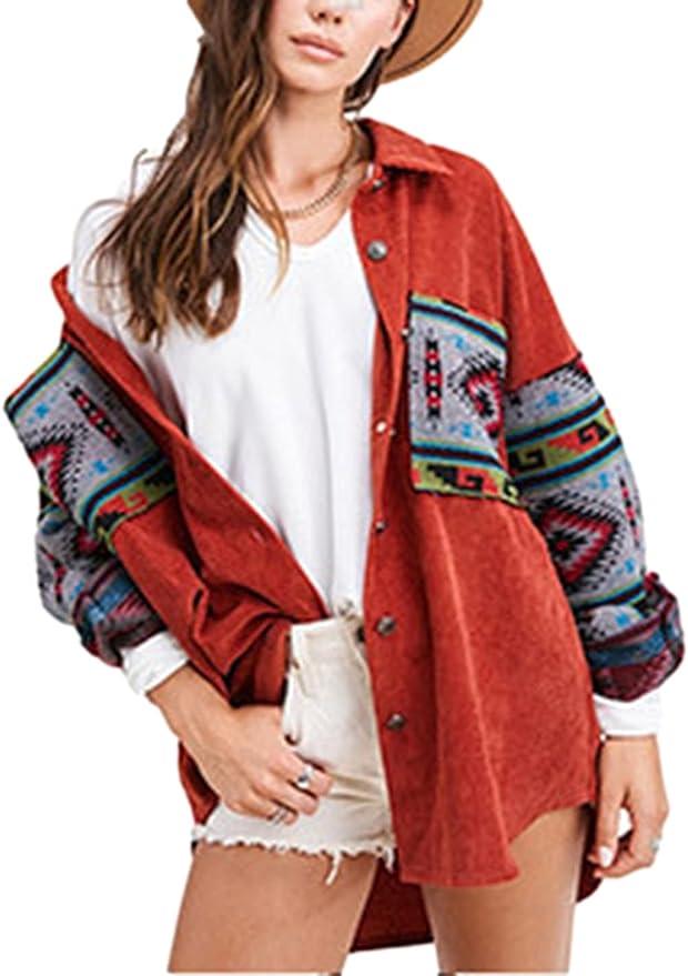 Esmeling Women's Corduroy Shirt Jacket Loose Boyfriend Button Down Aztec Print Shacket