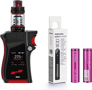 AUTÉNTICO SMOK MAG KIT 225W con TFV12 Prince Tangue 2mL Cigarrillo electrónico (Negro Rojo) con 2 X EFEST 3000 mAh Batería y cargador de 18650 batería PEACEVAPE™ Sin Tabaco - Sin Nicotina