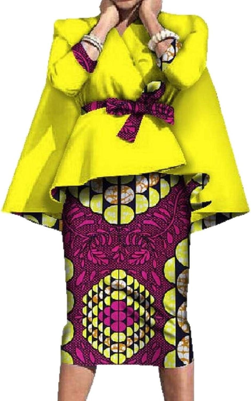 LKCENCA Women's Tribal Two Piece Suit Accept Waist Batik Africa Bodycon Skirt