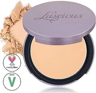 Luscious Cosmetics Velvet Matte Oil Control Pressed Powder Foundation | Vegan and Cruelty Free | Multi-use Foundation & Setting Powder (#2 Medium Beige w/Gold Undertones 0.35oz)
