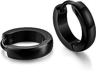 Yellow Chimes Trendy Genuine Steel Hoop Earrings for Men (Black)(YCFJER-074SIMP-BK)