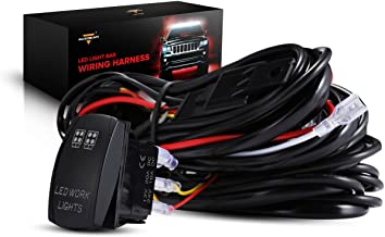 Auxbeam LED Light Bar Wiring Harness with Rocker Switch 3Pcs Switching Lines Power Relay and Fuse
