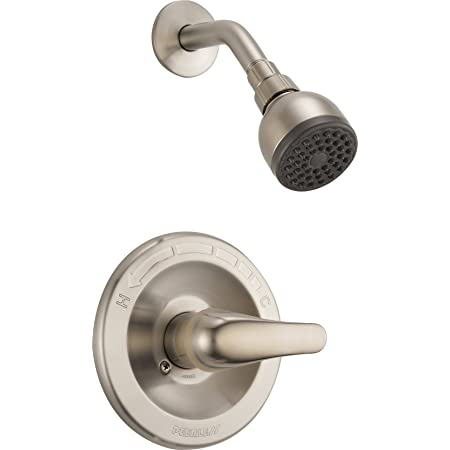 Peerless Precept Single-Handle Shower Faucet Trim Kit with Single-Spray Shower Head Brushed Nickel PTT188782-BN Valve Not Included