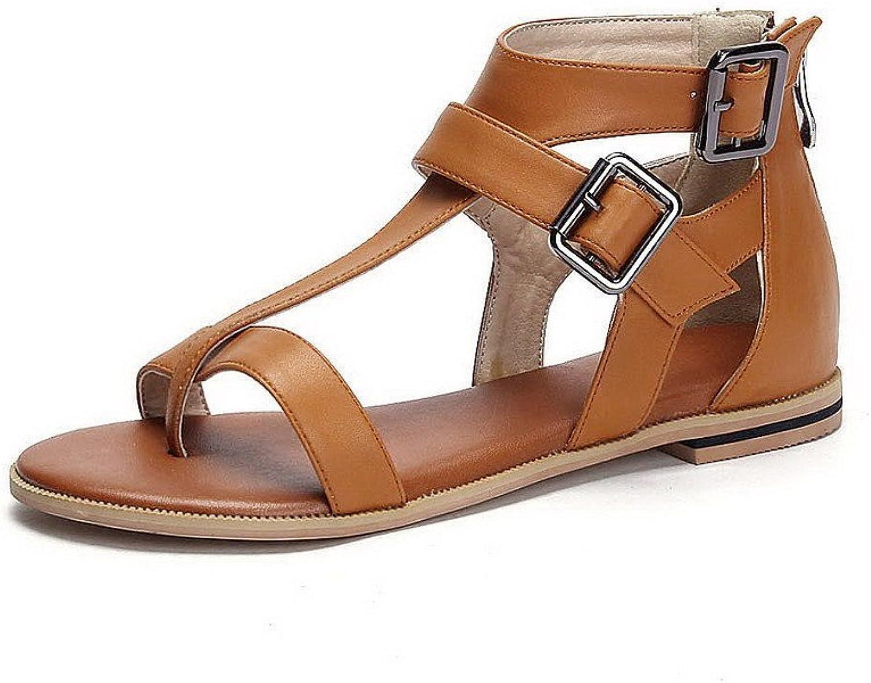 AmoonyFashion Women's Split Toe No Heel Zipper Solid Sandals