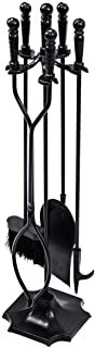 Tangkula Fireplace Set 5 Piece Rustic Heavy Duty Compact Wrought Iron Fire Place Tool Set with Pedestal Place, Hearth Tool, 25.5