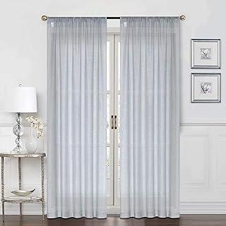 Everyday Celebration Grey Sheer Curtains Rod Pocket...