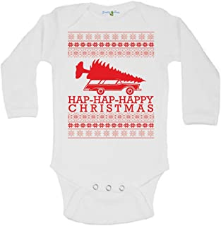 Hap-Hap-Happy Griswald Family Christmas Vacation Ugly Sweater One Piece Baby Romper Suit Long Sleeve