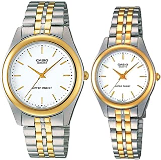 Casio His & Her for Unisex - Analog Stainless Steel Band Watch - MTP/LTP-1129G-7A