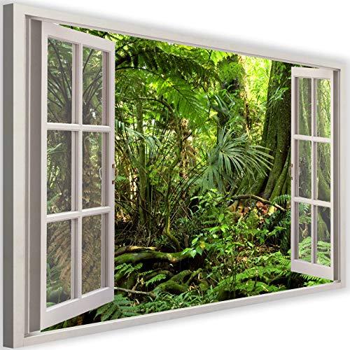 Cuadro de Pared XXL Vista de la Ventana Impresión Lienzo Bosque Verde 120x80 cm