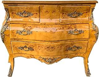 Casa Padrino Cajonera barroca Ojo de pájaro Arce al Estilo francés 137 cm - Muebles barrocos artesanales