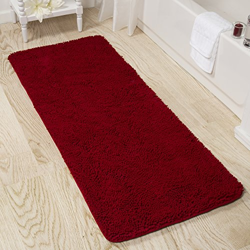 Bedford Home Memory Foam Shag Bath Mat 2-Feet by 5-Feet -Burgundy