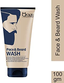 Qraa Men Face And Beard Wash with Tea Tree Oil, 100g, with Aloe Vera & Vitamin-E For Cleaner & Stronger Beards