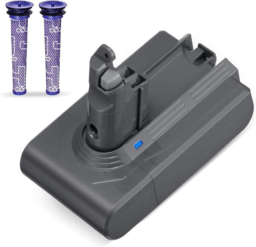 Powerextra batteria di ricambio per dyson v6 da 3000 mah 21.6v e 2 filtri di ricambio DYDC61-30 IT